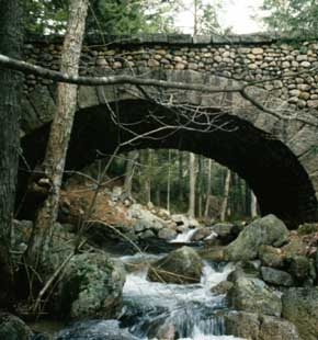 View of a cobble stone bridge on carriage path, Acadia National Park, Mount Desert Island, Maine
