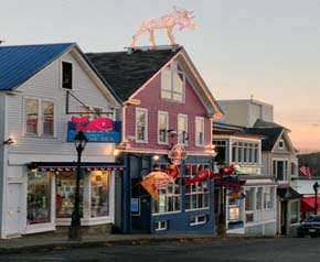 View of colorful shops in Bar Harbor, Mount Desert Island, Maine
