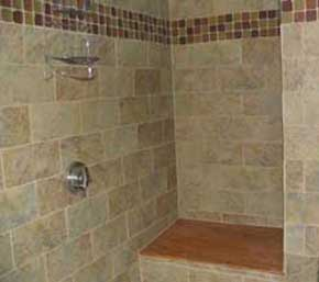 View of Acadia Memories rental vacation cottage tiled shower