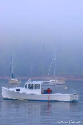 View of  Maine lobster boats in misty Bar Harbor, Maine waters