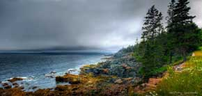 View of rocky shoreline of Acadia National Park, Mount Desert Island, Maine