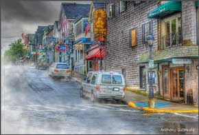 Scene looking up Main Street in Bar Harbor, Maine
