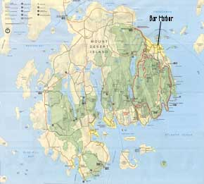 Map of Mount Desert Island, Maine showing Bar Harbor, Maine and Acadia National Park, Maine