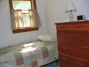 View of Acadia Memories rental vacation cottage twin bedroom, one of three bedrooms