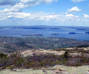 View of Bar Harbor Maine from Cadillac Mountain